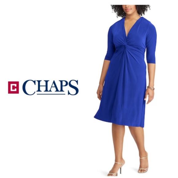 Chaps Dresses Plus Size Solid Knot Front Empire Dress Blue Poshmark